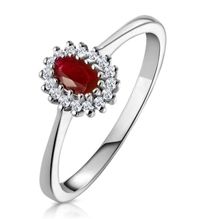 Ruby 5 x 3mm And Diamond 18K White Gold Ring  FET29-TY