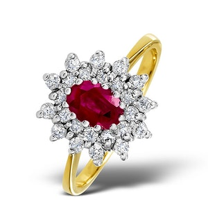 Ruby 6 x 4mm And Diamond 18K Gold Ring  FET34-T