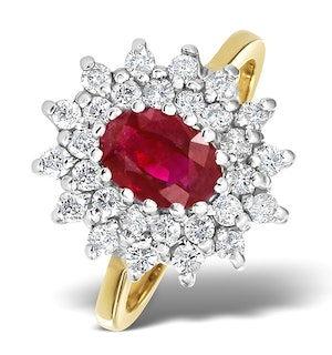 Ruby 7 x 5mm And Diamond 9K Gold Ring  A3373