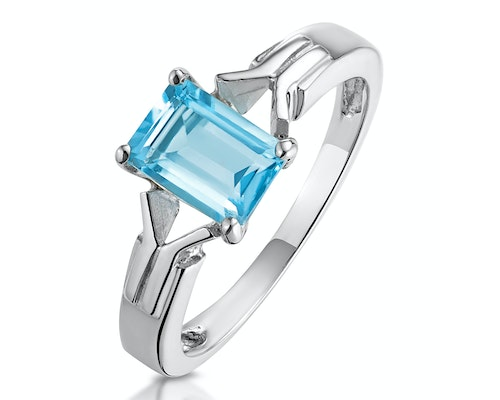 White Gold Blue Topaz Rings
