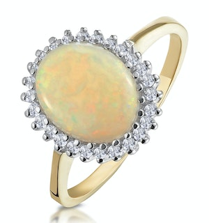 Opal 10 x 8mm And Diamond 9K Yellow Gold Ring