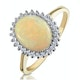 Opal 10 x 8mm And Diamond 9K Yellow Gold Ring - image 1