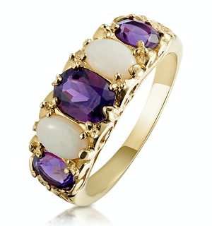Amethyst 1.30ct And Opal 9K Gold Ring