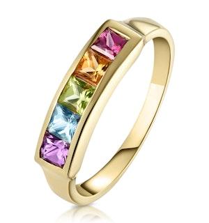 Multi Gem Stone 9K Yellow Gold Ring