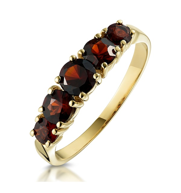 Garnet Ring 9K Yellow Gold Item A3790 - image 1