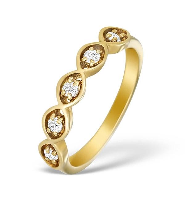 9K Gold Diamond 5 Stone Ring - A3895 - image 1