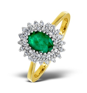 Emerald 7 x 5mm And Diamond 9K Gold Ring