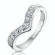Diamond 0.11ct 9K White Gold Wishbone Ring - image 1