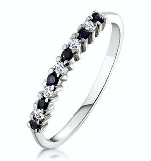 Sapphire 0.10ct And Diamond 9K White Gold Ring