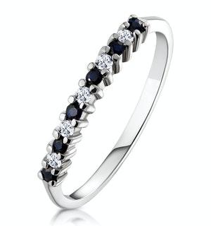 Sapphire 0.10ct And Diamond 9K White Gold Ring