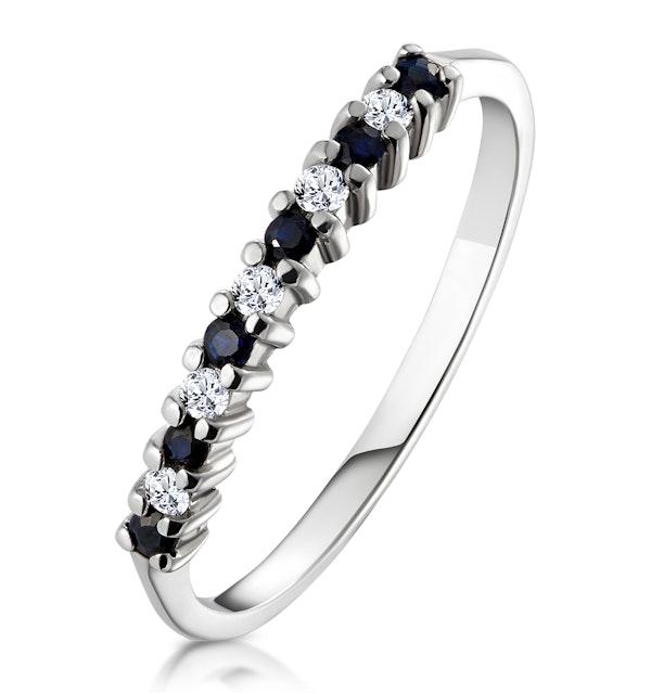 Sapphire 0.10ct And Diamond 9K White Gold Ring - image 1
