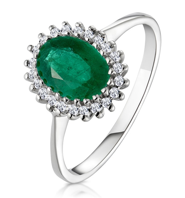 Emerald 8 x 6mm And Diamond 9K White Gold Ring - image 1