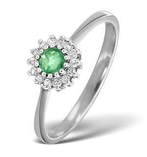 Emerald 3.5 x 3.5mm And Diamond 18K White Gold Ring