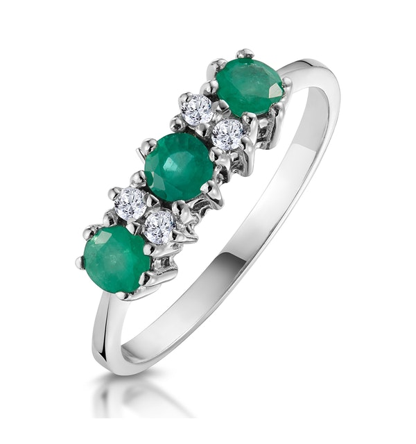 Emerald 0.45ct And Diamond 9K White Gold Ring - image 1