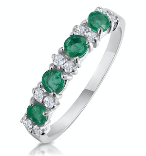 Emerald 0.60ct And Diamond 9K White Gold Ring