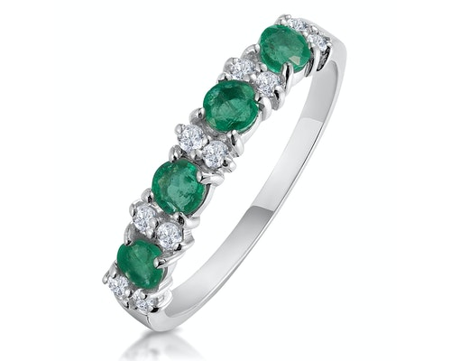 emerald white gold eternity rings