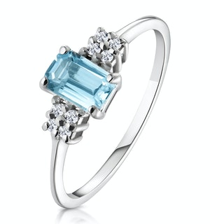 Blue Topaz 6 x 4mm And Diamond Ring 9K White Gold