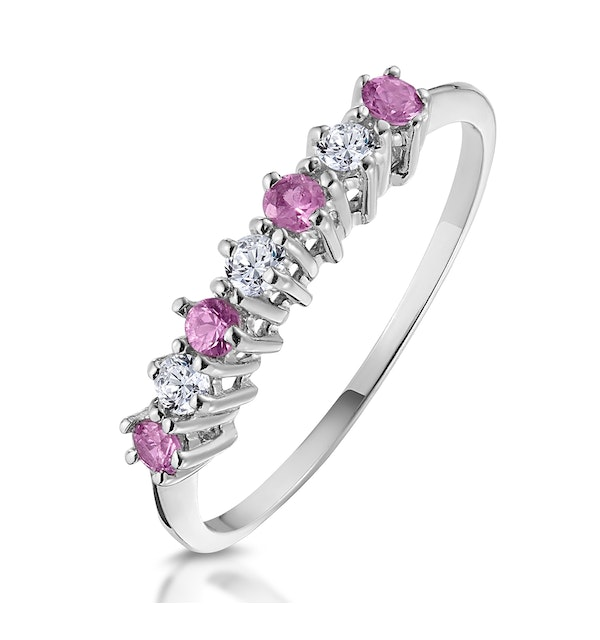 Pink Sapphire and 0.09ct Diamond Ring 9K White Gold - image 1