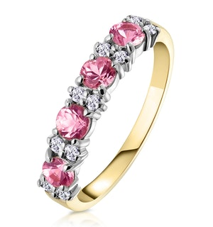 Pink Sapphire and 0.15ct Diamond Ring 9K Yellow Gold