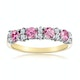 Pink Sapphire and 0.15ct Diamond Ring 9K Yellow Gold - image 2