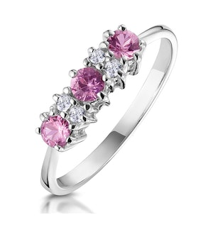 Pink Sapphire and 0.06ct Diamond Ring 9K White Gold