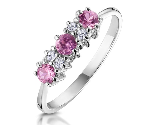 3 Stone Pink Sapphire Rings