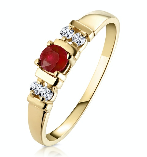 Ruby 3.75mm And Diamond 9K Gold Ring - image 1