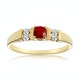 Ruby 3.75mm And Diamond 9K Gold Ring - image 2