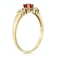 Ruby 3.75mm And Diamond 9K Gold Ring - image 3