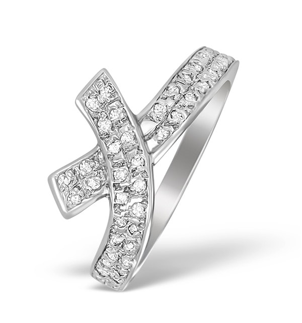 9K White Gold Diamond Pave Cross Design Ring - A4255 - image 1