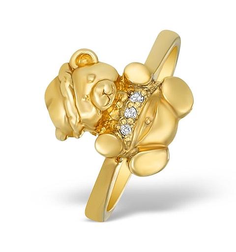 9K Gold Diamond Set Teddy Bear Ring - A4264 - image 1