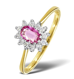 18K Gold Diamond and Pink Sapphire Ring 0.18ct