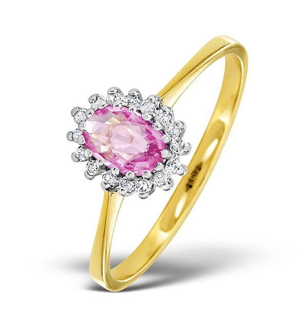 9K Gold Diamond and Pink Sapphire Ring 0.08ct - image 1
