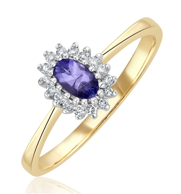 Tanzanite 5 x 3mm And Diamond 9K Gold Ring  A4323 - image 1