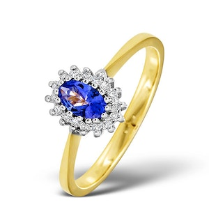 Tanzanite 5 x 3mm And Diamond 18K Gold Ring  FET29-V