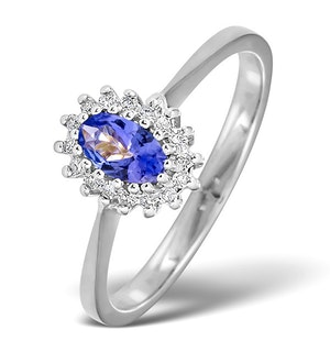 Tanzanite 5 x 3mm And Diamond 18K White Gold Ring  FET29-VY