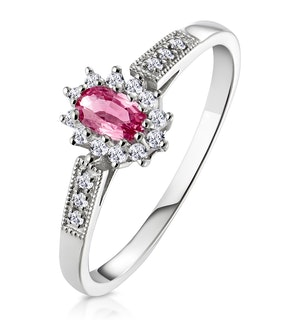 9K White Gold Diamond Pink Sapphire Ring 0.14ct