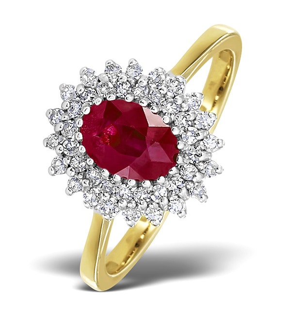 Ruby 7 x 5mm And Diamond 9K Gold Ring - image 1