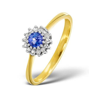 Tanzanite 3.5 x 3.5mm And Diamond 18K Gold Ring