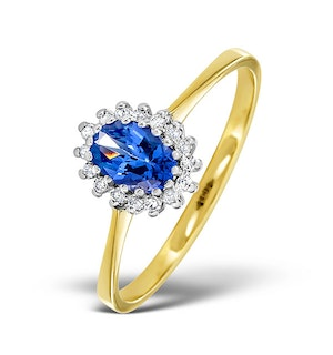 Tanzanite 6 x 4mm And Diamond 18K Gold Ring