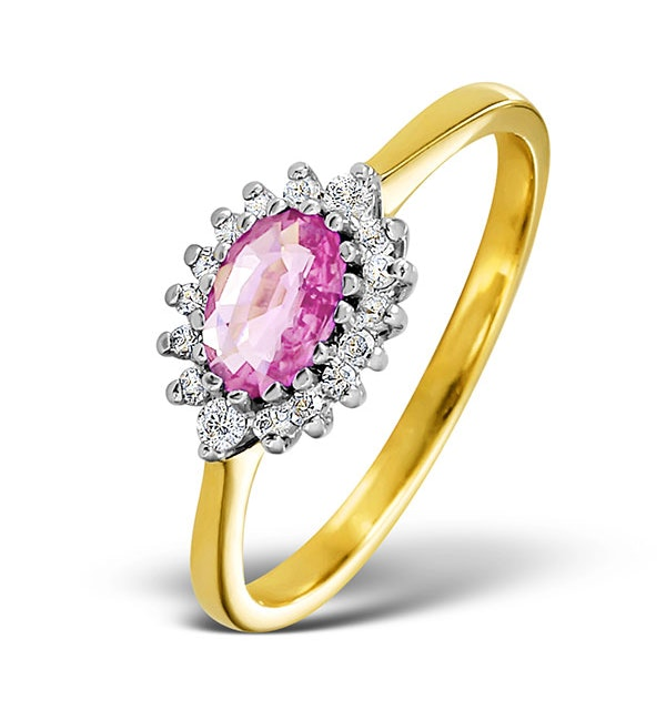 18K Gold Diamond and Pink Sapphire Ring 0.14ct - image 1