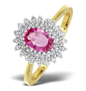 9K Gold Diamond and Pink Sapphire Ring 0.30ct