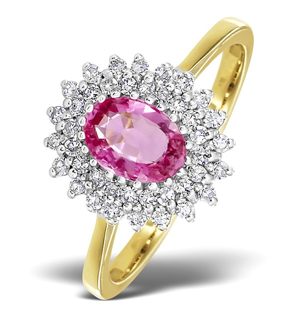 9K Gold Diamond and Pink Sapphire Ring 0.30ct - image 1