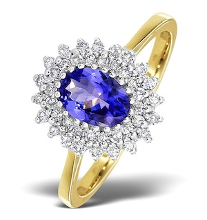 Tanzanite 7 x 5mm And Diamond 9K Gold Ring