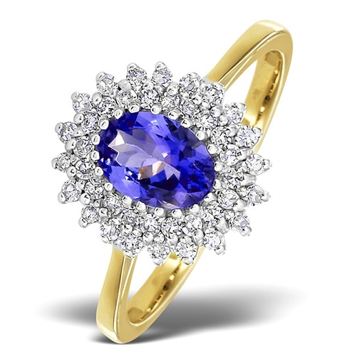 Tanzanite 7 x 5mm And Diamond 9K Gold Ring - image 1