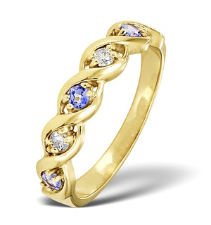 Tanzanite 2.25 x 2.25mm And Diamond 9K Gold Ring