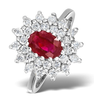 Ruby 7 x 5mm And Diamond 18K White Gold Ring  FET36-TY