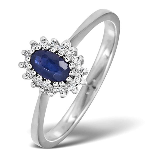 Sapphire 5 x 3mm And Diamond 18K White Ring - image 1