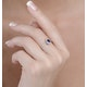 Sapphire 6 x 4mm And Diamond 9K White Gold Ring  A4433 - image 3