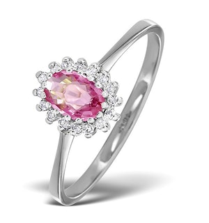 9K White Gold Diamond and Pink Sapphire Ring 0.08ct